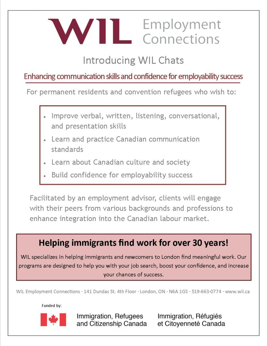 For permanent residents and convention refugees who wish to:    Improve verbal, written, listening, conversational, and presentation skills Learn and practice Canadian communication standards Learn about Canadian culture and society Build confidence for employability success   Facilitated by an employment advisor, clients will engage with their peers from various backgrounds and professions to enhance integration into the Canadian labour market.